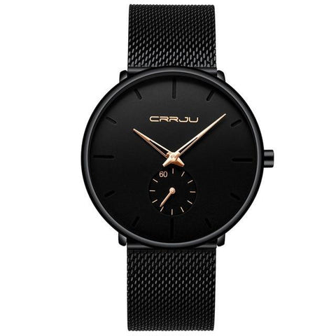 Casual Black Slim Mesh Steel Watch
