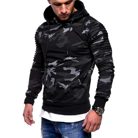 Image of Camouflage Pleated Long Sleeve Hoodie