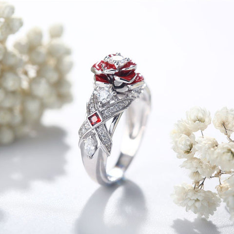 Floral Two Tone Accent Rose Ring