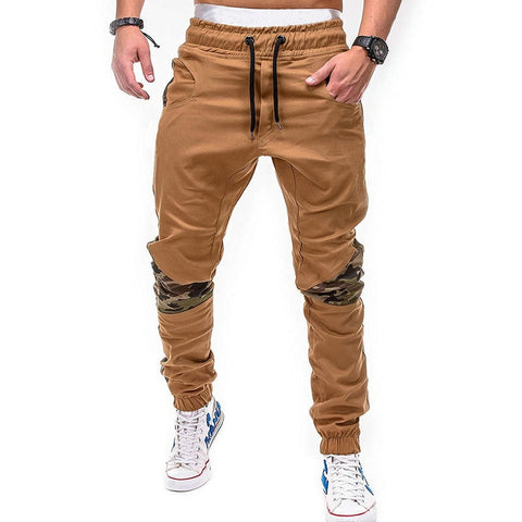 Image of Mens Drawstring Patchwork Streetwear Sweatpants
