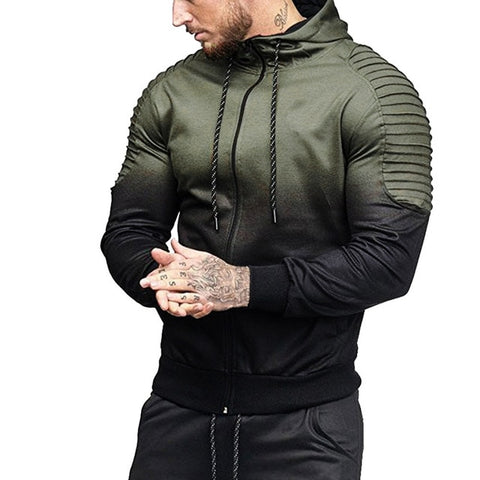 Gradient Color Pleated Sleeve Hoodie
