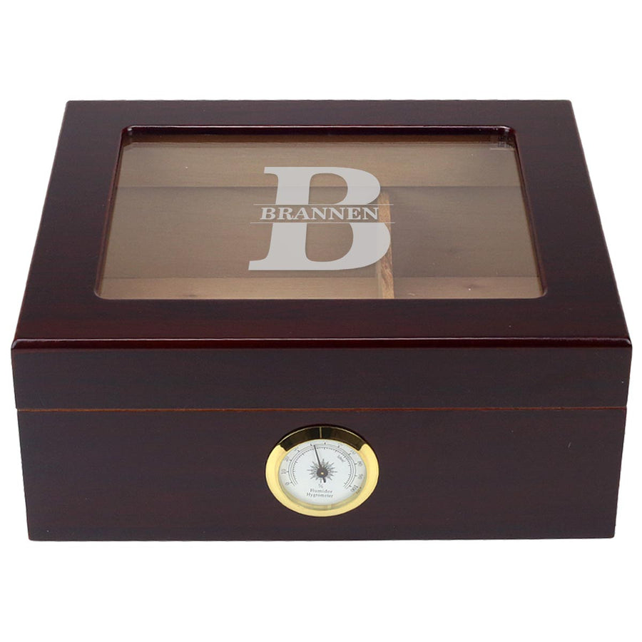 The Classic Custom Engraved 25 Cigar Glass Top Cigar Humidor