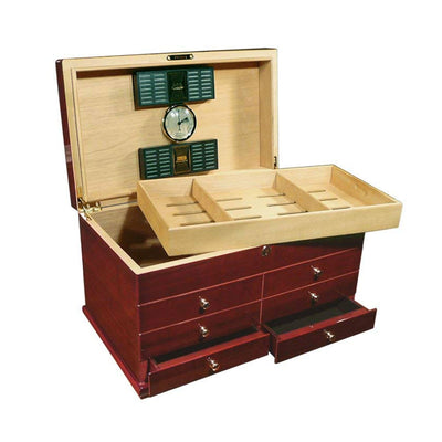Landmark 300 Count High Gloss Cherry Cigar Humidor