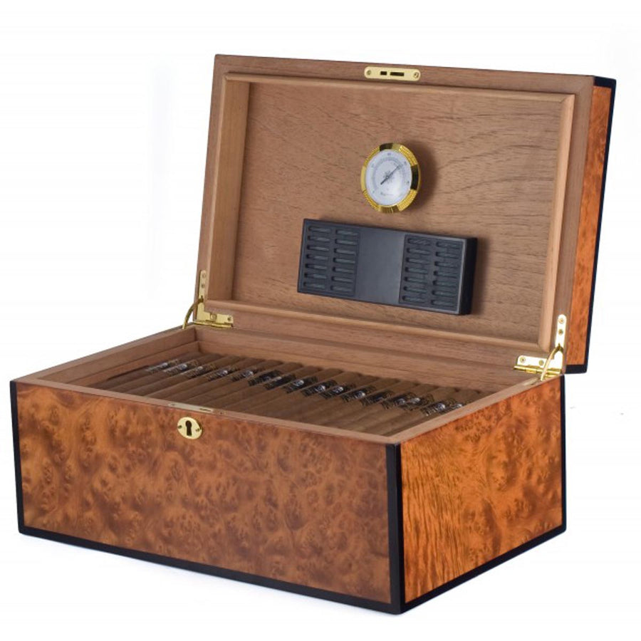 The Merger 125 Cigar High Gloss Burl Humidor