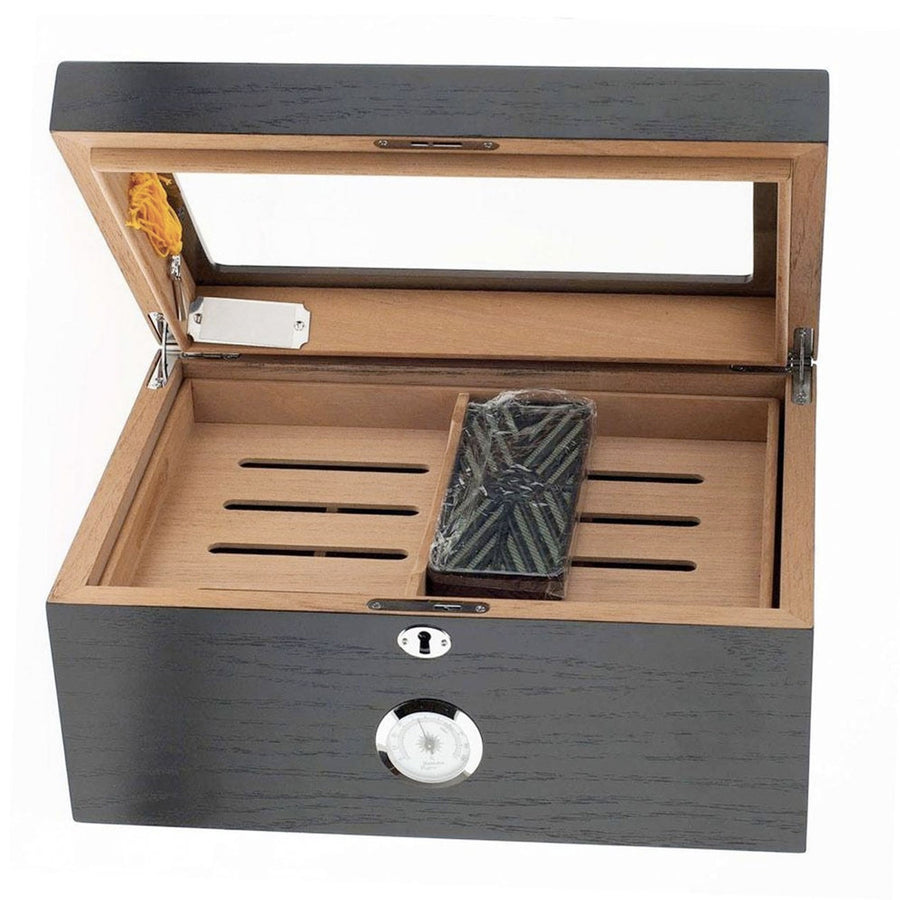 The Black Milano Glass Top Cigar Humidor