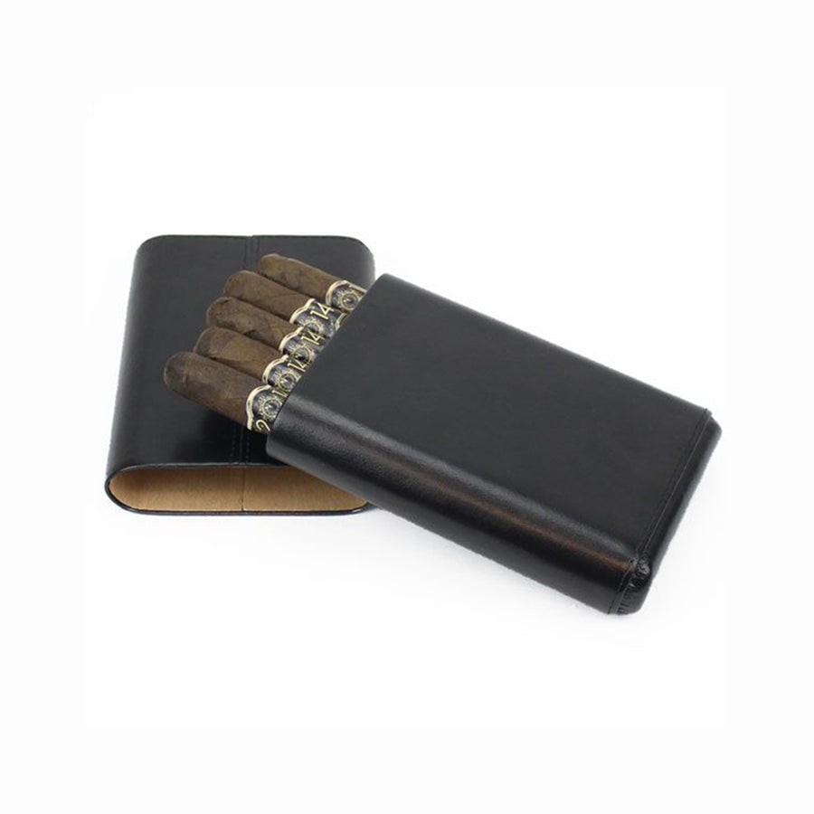 Five Cigar Leather Telescoping Travel Case