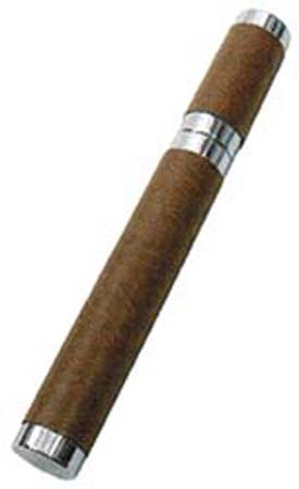 Leather Wrapped Single Stainless Steel Cigar Tube