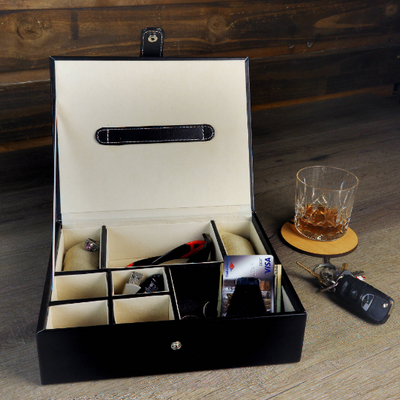 Black Leatherette Valet Box with FREE Custom Printing
