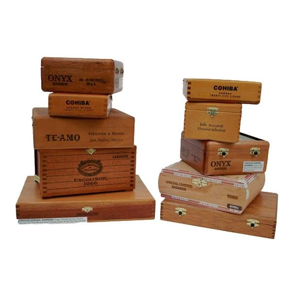 Empty Assorted Wood Cigar Boxes