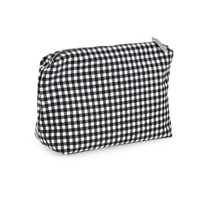 Black Gingham Canvas Pouch