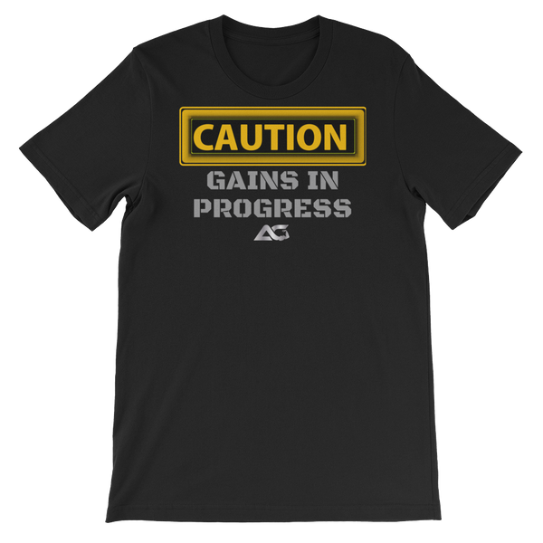 ALPHA FITTED TEES - CAUTION GAINS TEE