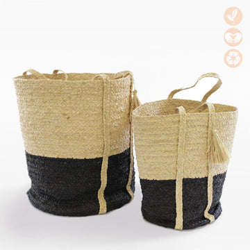 Two Tone Raffia Baskets