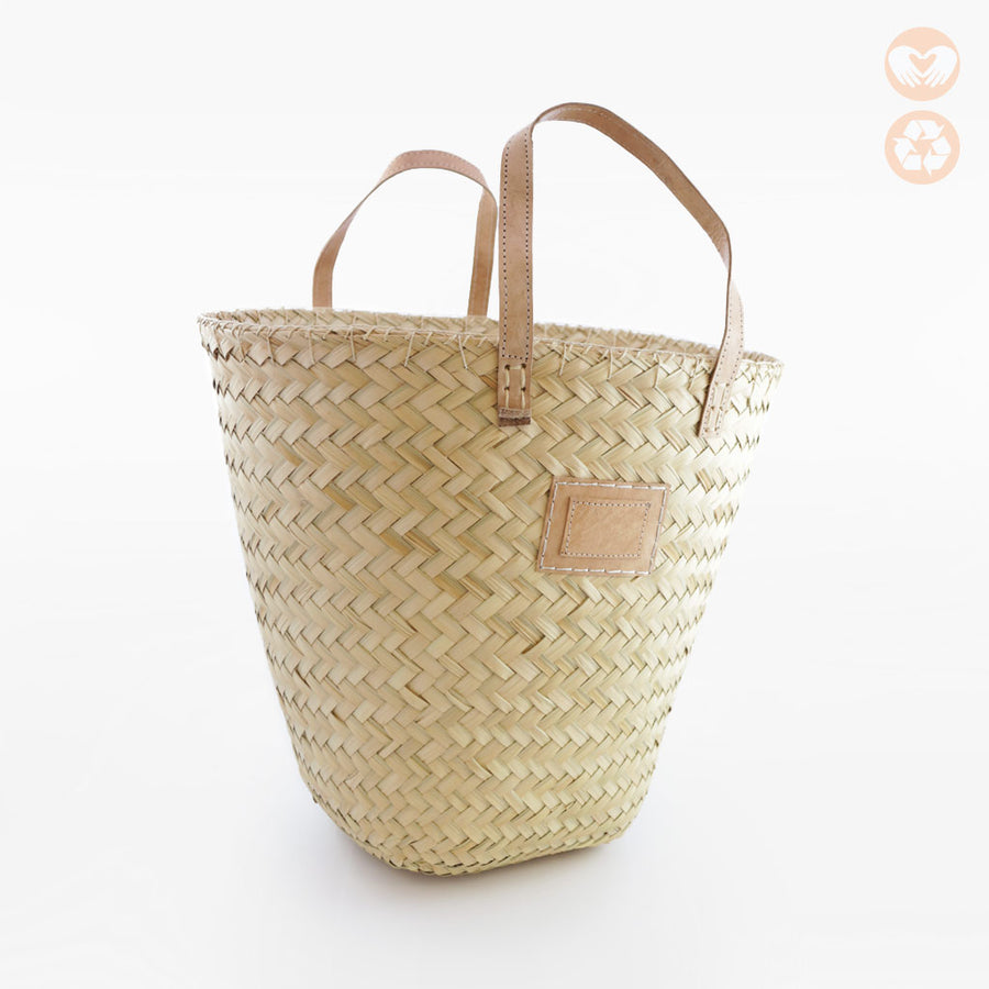 Storage Basket with Leather Detail