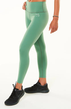 Sagebrush 7/8 Leggings. Green high-waisted leggings. Athleisure leggings.