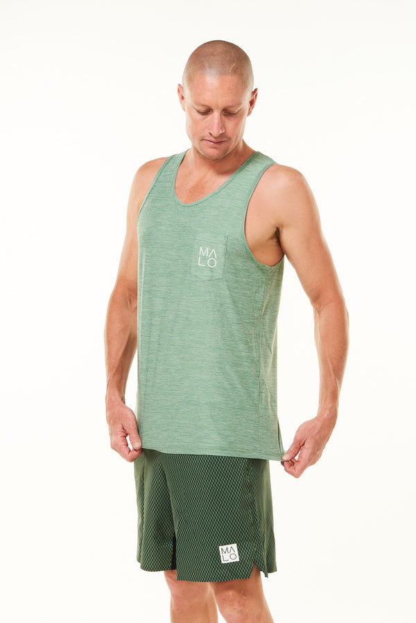 Men's Cool It Tee - Sagebrush. Breathable green workout tee. Sweat-wicking short sleeve shirt.
