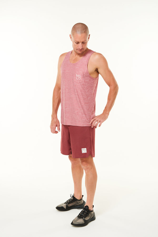 Men's Cool It Tank. Red sleeveless top for running and working out.