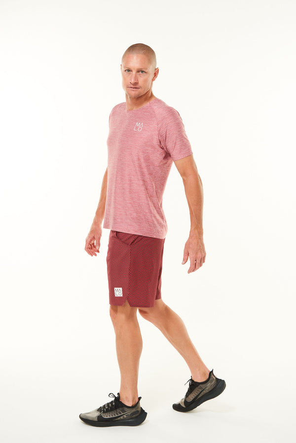 Men's Cool It Tee- Nantucket. Breathable red workout tee. Sweat-wicking short sleeve shirt.