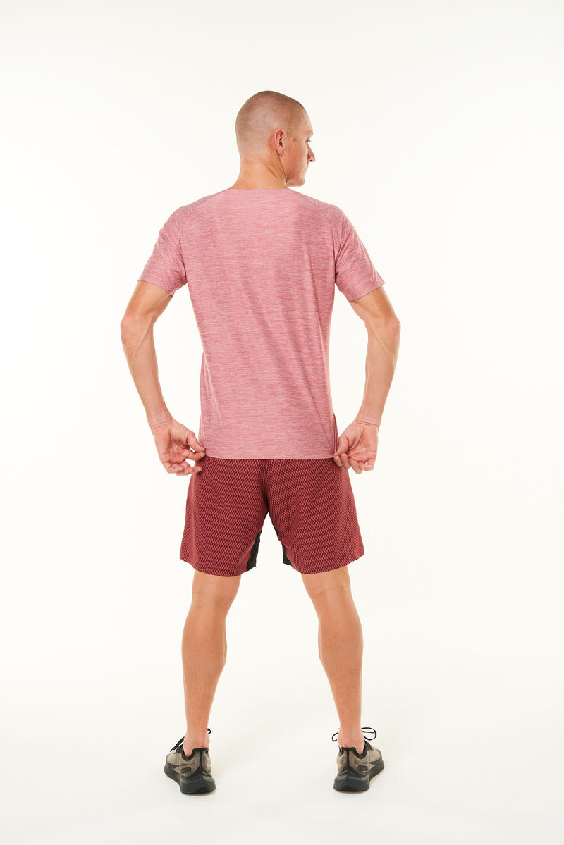 Back view of Men's Cool It Tee. Red sweat-wicking running shirt. Workout shirt with ventilation.