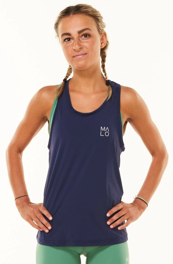Women's Navy Endure Tank. Navy singlet for working out.