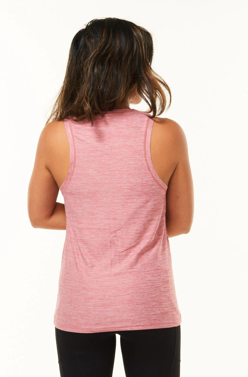Back view of Women's Cool It Tee. Pink running singlet. Technical tank top with to keep you cool.