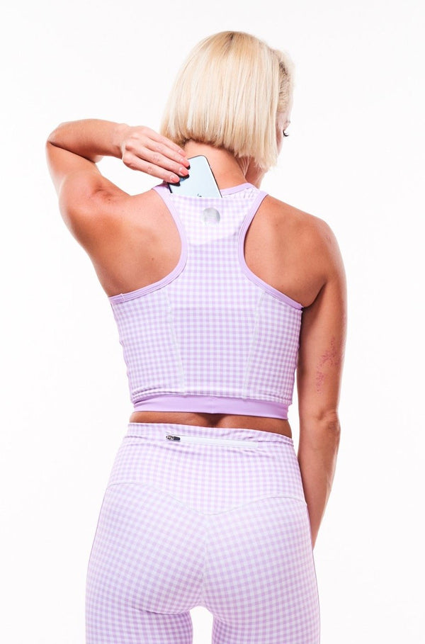 MALO core crop (with phone pocket) - lavender gingham