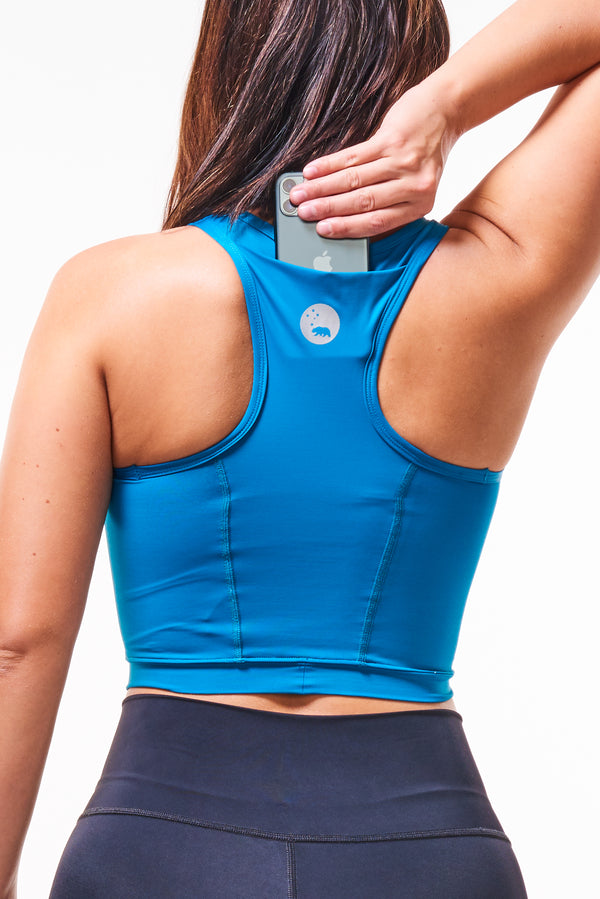 MALO EcoActive core crop (with phone pocket) -  tidepool