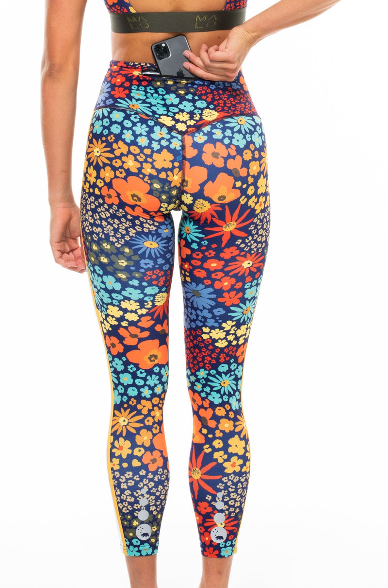 MALO on the run 7/8 tights - flower child blue poppy