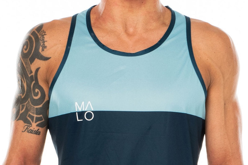Close view men's blue performance tank top. Workout singlet with 'MALO' logo on right chest.