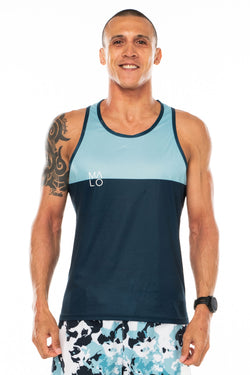 Men's Hollet Performance Tank - Ocean. Blue performance tank for running. Moisture-wicking tank top.