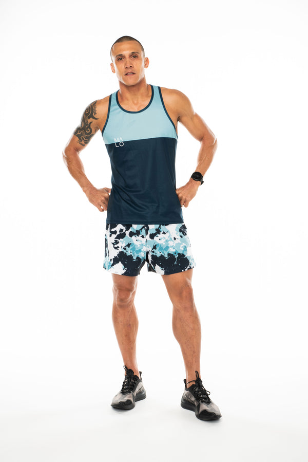 Men's blue tank top. Lightweight performance singlet for running and working out.