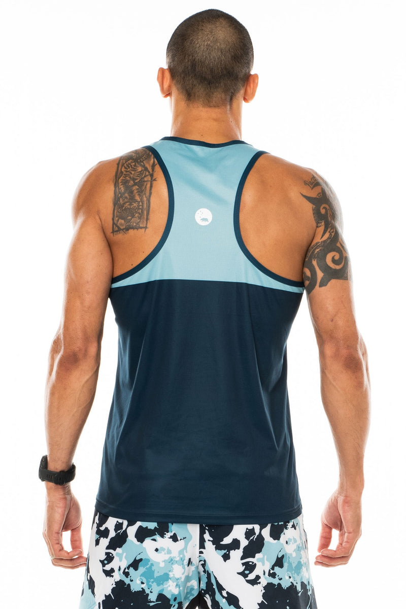 Back view men's blue performance tank top. Lightweight, sleeveless workout top with reflective logo.