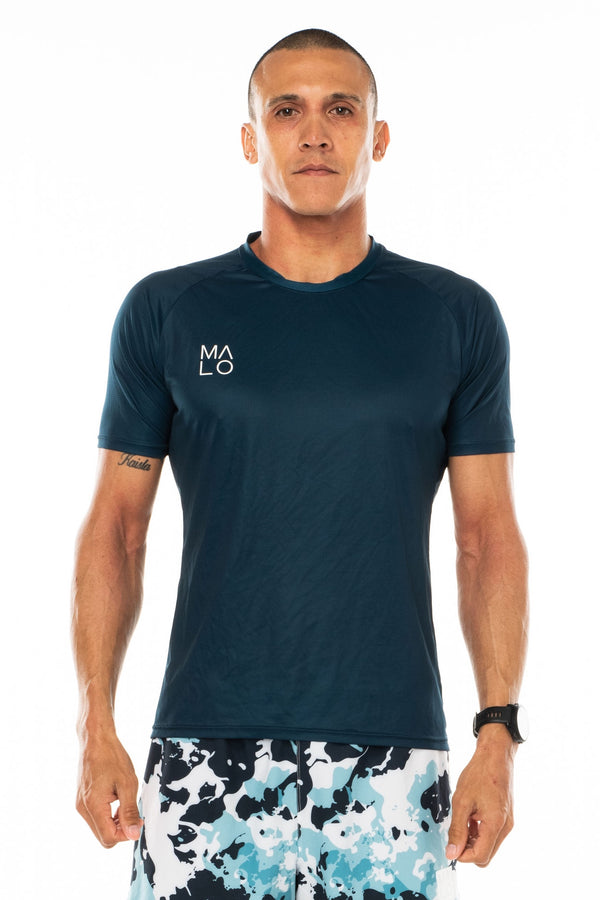 Men's Tanglewood Performance Tee - Ocean. Lightweight blue workout shirt. Moisture-wicking short sleeve running shirt.
