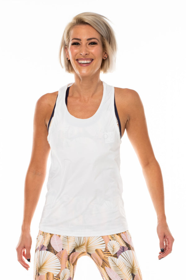 Women's White Endure Tank. White singlet for working out.