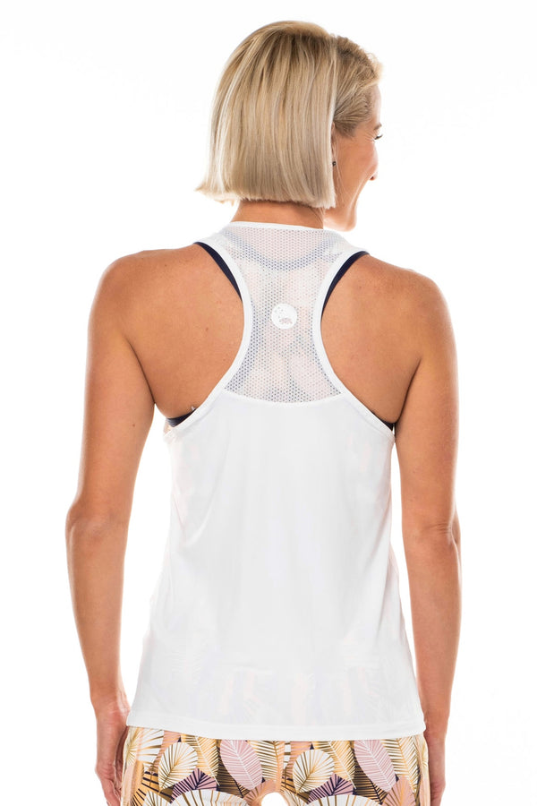 Back view Endure Tank. White sleeveless top with reflective logo. Women's tank top with mesh panel.