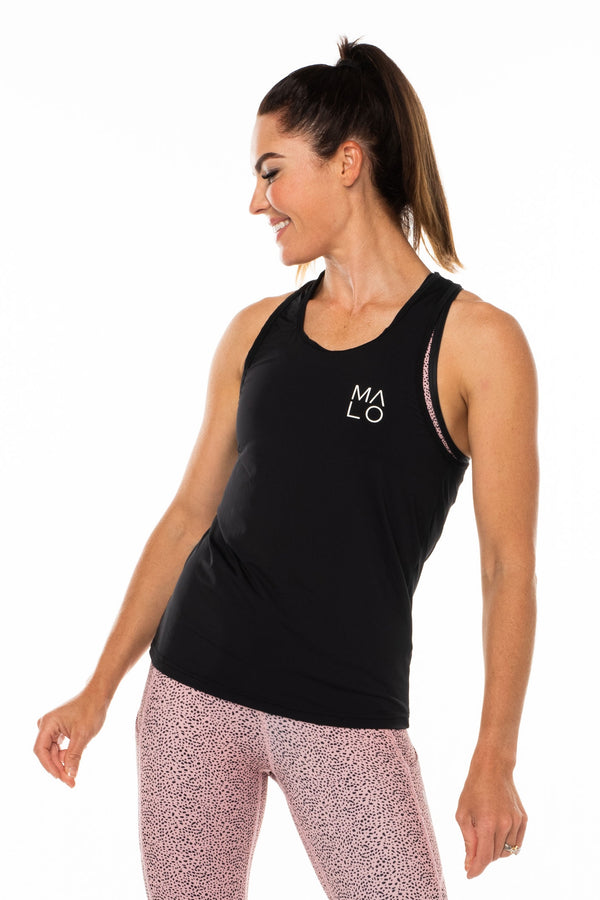 Women's Black Endure Tank. Black singlet for working out.