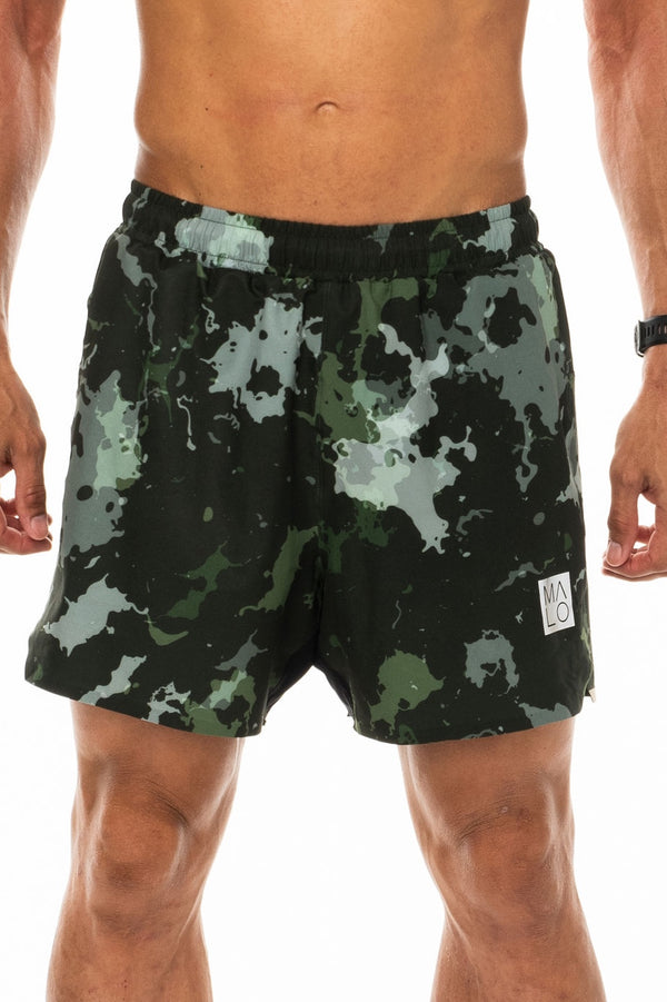 Men's Moss Camo Noosa Run Short. Green run shorts with mesh liner. Running shorts with 5.5 inseam.