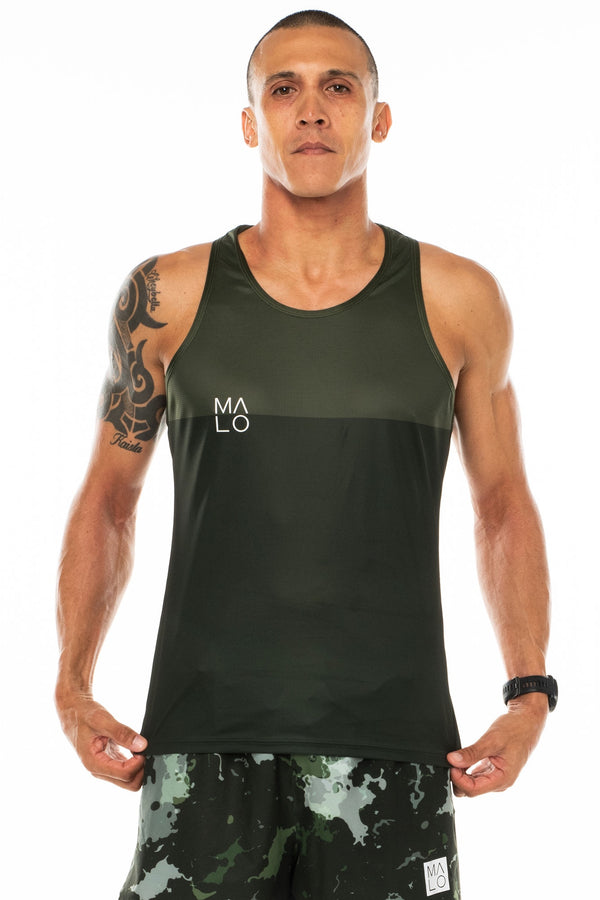 Men's Hollet Performance Tank - Moss. Green performance tank for running. Moisture-wicking tank top.