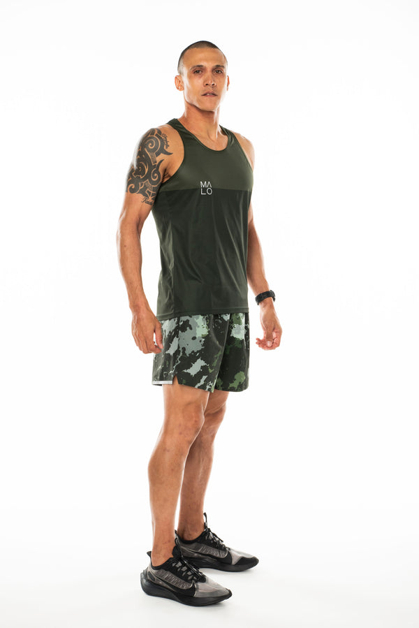 Right view men's green tank top. Lightweight performance singlet for running and working out.