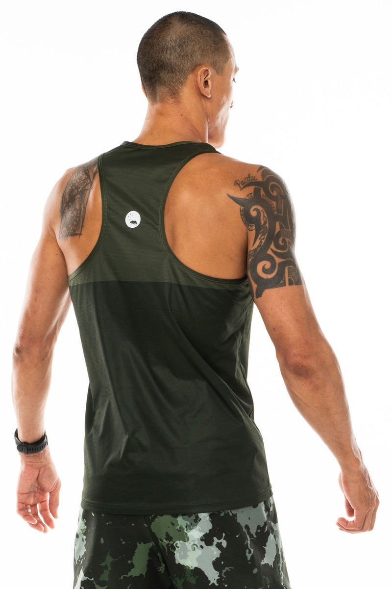 Back view men's green performance tank top. Lightweight, sleeveless workout top with reflective logo.