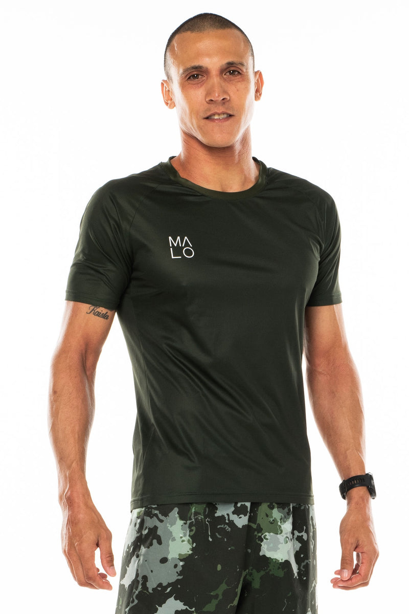 Men's Tanglewood Performance Tee - Moss. Lightweight green workout shirt. Moisture-wicking short sleeve running shirt.