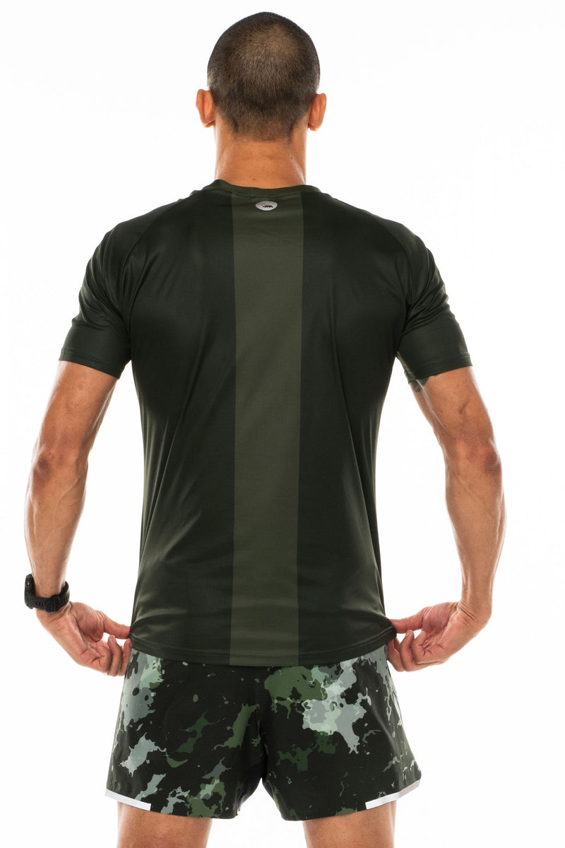 Back view men's green short sleeve workout shirt. Lightweight running shirt with reflective logo and vertical light green stripe.