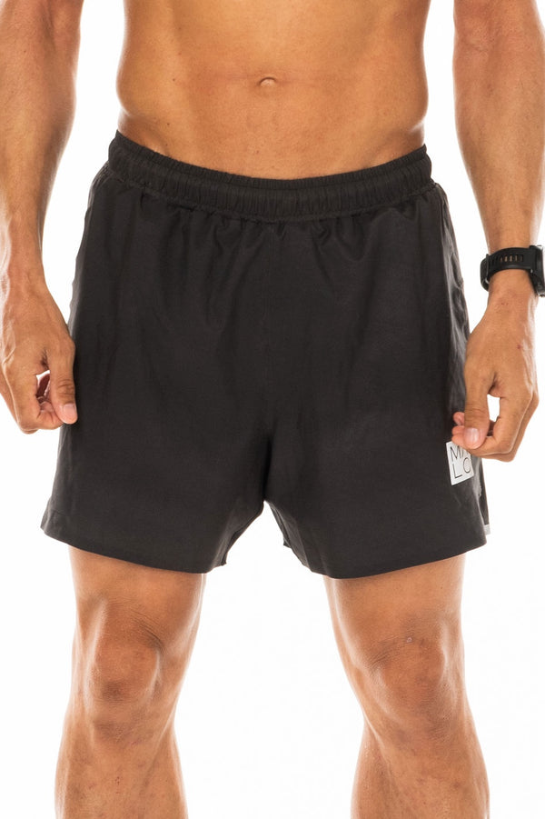 Men's Slate Noosa Run Short. Gray run shorts with mesh liner. Running shorts with 5.5 inseam.