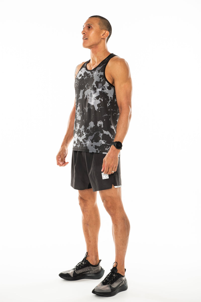 Left view men's grey camo tank top. Lightweight performance singlet for running and working out.
