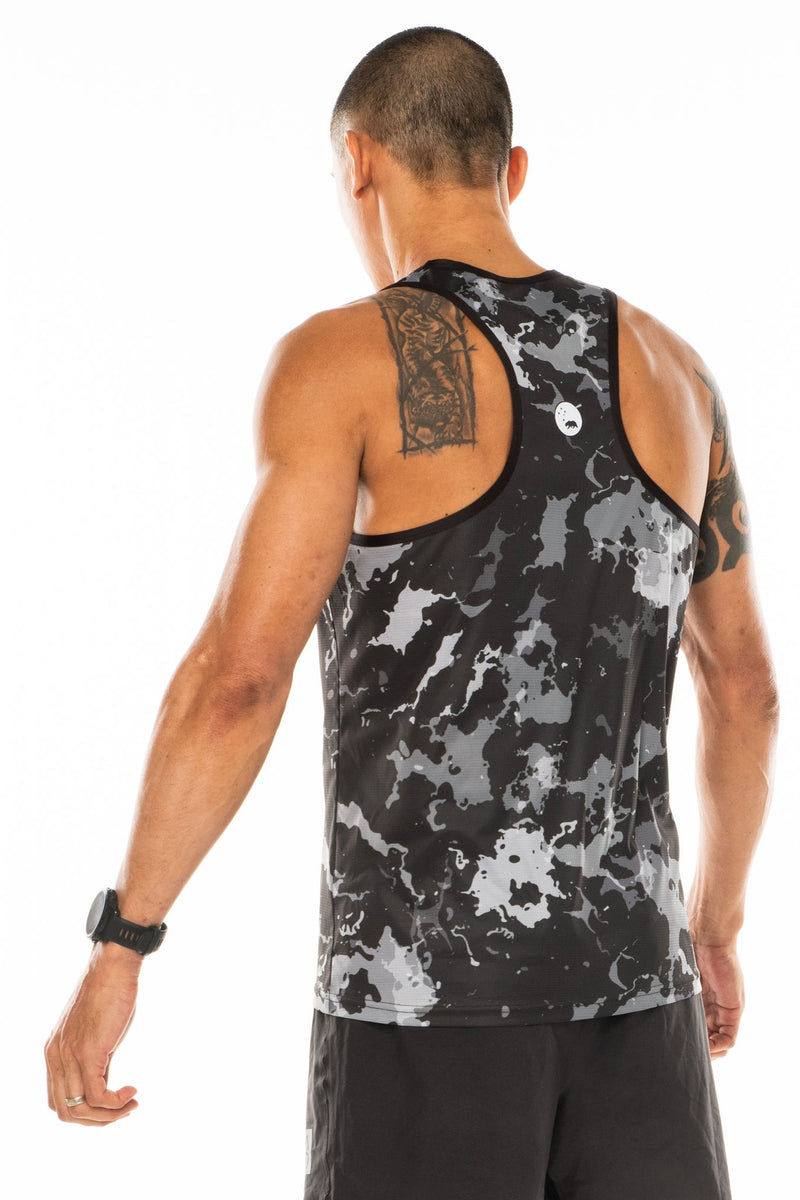 Back view men's grey performance tank top. Lightweight, sleeveless workout top with reflective logo.