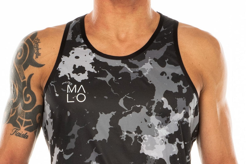 Close view men's camo performance tank top. Workout singlet with 'MALO' logo on right chest.