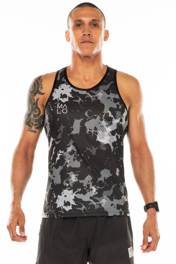 Men's Hollet Performance Tank - slate camo. Grey performance tank with camo pattern. Moisture-wicking tank top.