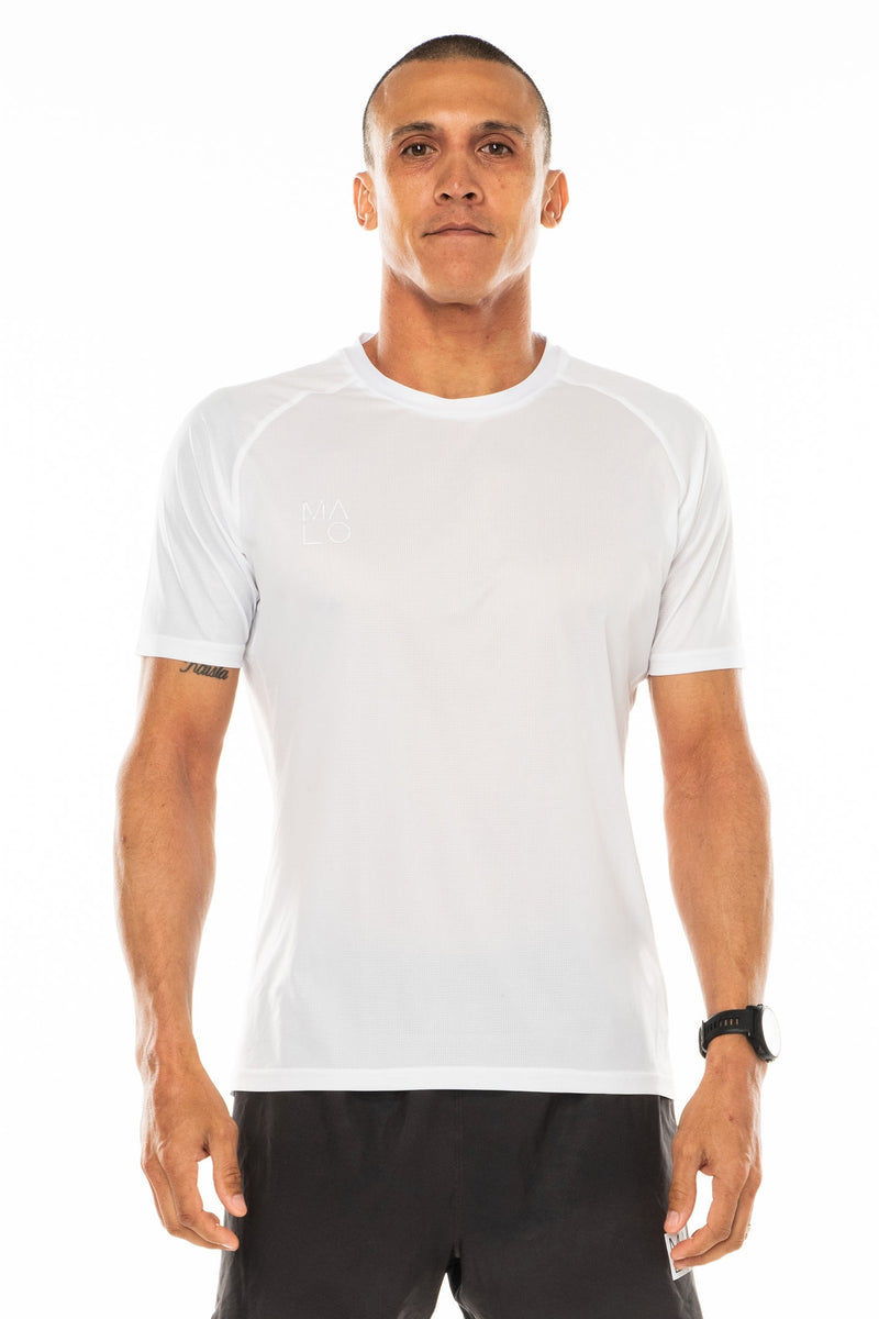 Men's Tanglewood Performance Tee - White/Slate. Lightweight white workout shirt. Moisture-wicking short sleeve running shirt.
