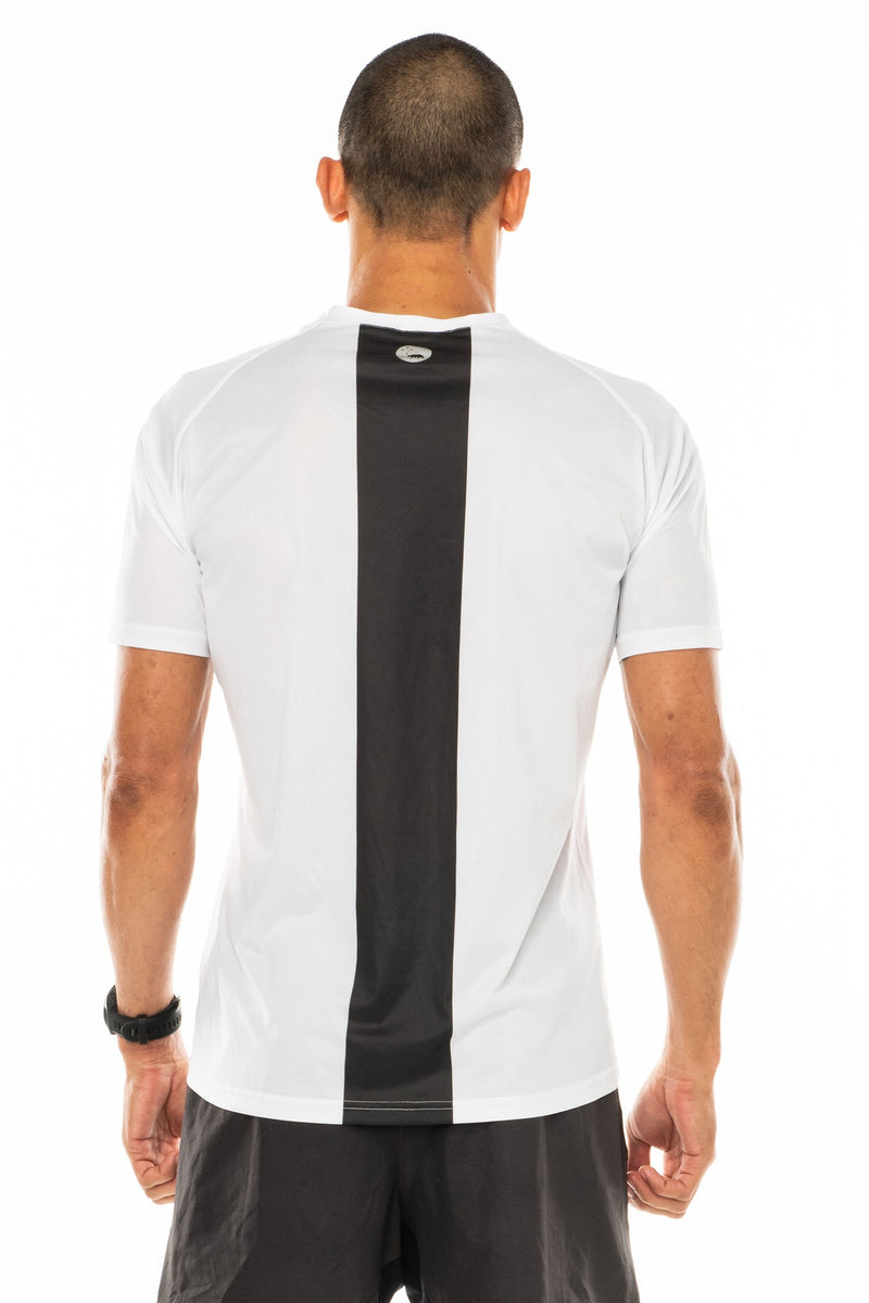Back view men's white short sleeve workout shirt. Lightweight running shirt with reflective logo and vertical grey stripe.