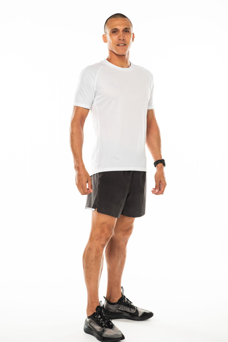 Right view men's white performance tee. Lightweight and moisture-wicking running and workout t-shirt.