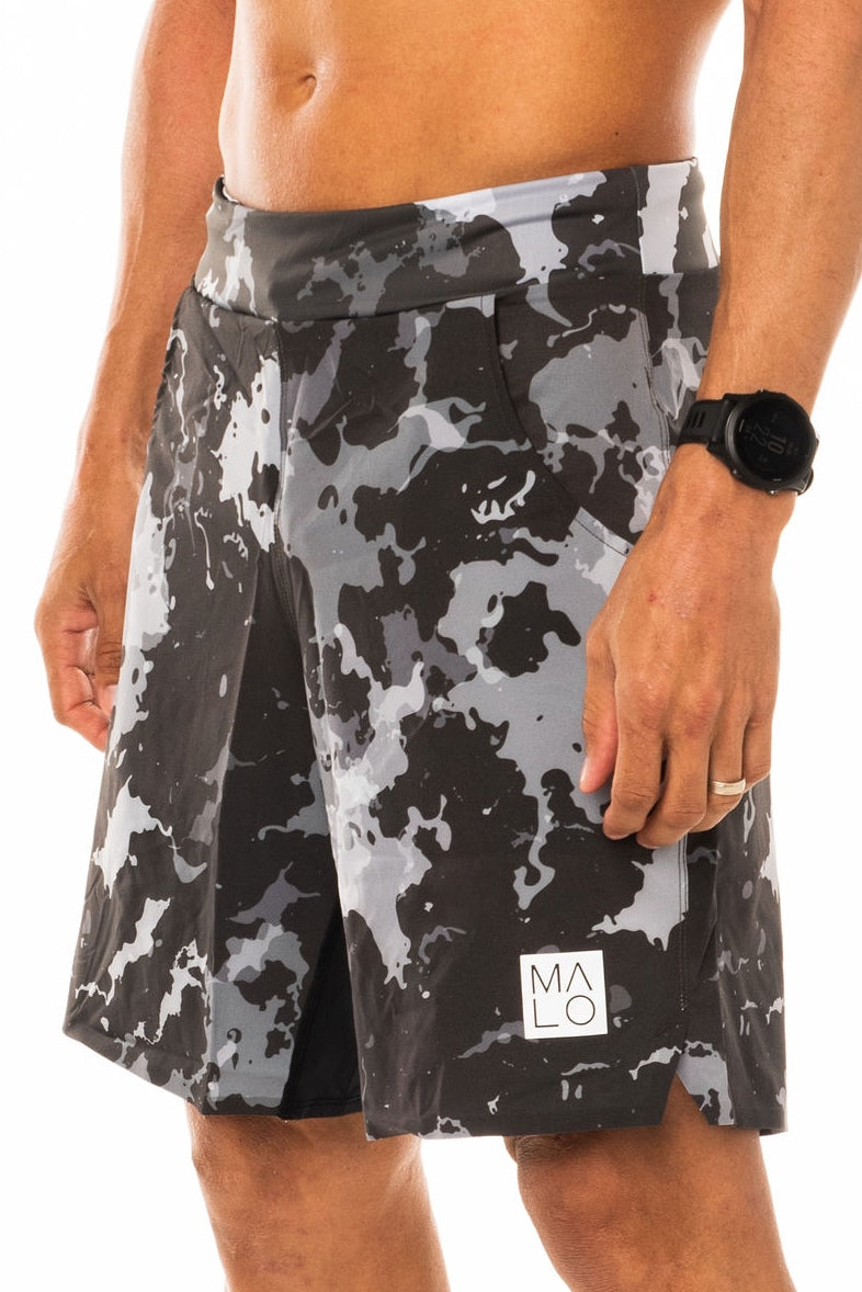 Men's Slate Camo Arvo Shorts. Grey camo print shorts with 9.5 inseam. Unlined workout shorts.